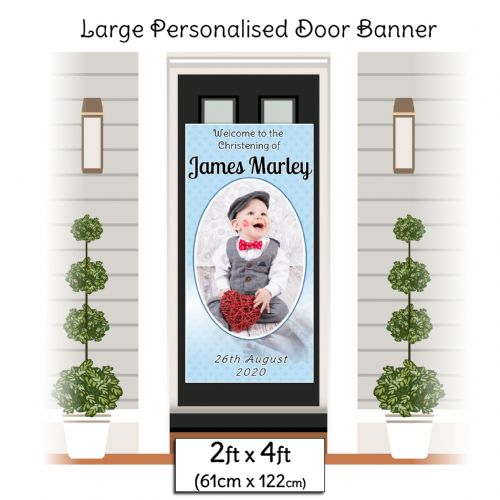 Personalised Boys Christening Baptism Door PHOTO Poster Banner ~ N7